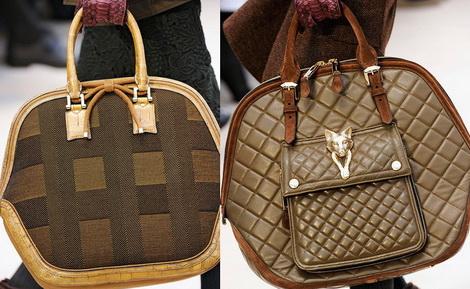 Модные сумки осень-зима 2012-2013 - фото: из ткани с собакой Бюрберри.
