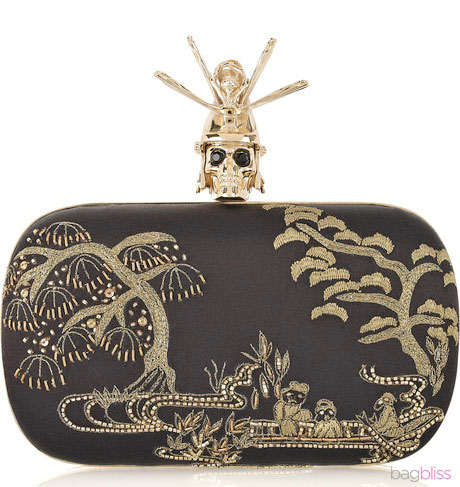 Oriental Samurai Skull Silk-Satin Box Clutch, клатч месяца от Александра...