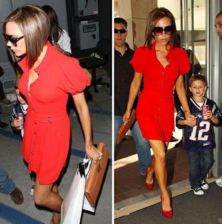 Красные туфли + рыжая сумка.